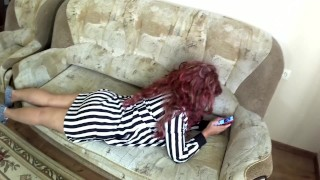 XXX Honey : Mom Lay on the Couch Stepson Fucked her in Anal